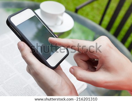 Business woman using smart phone mobile