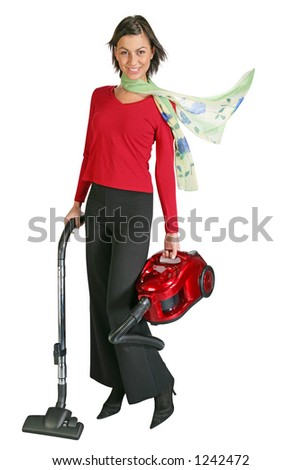 business woman vacuuming