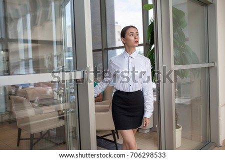 Business Woman Walks Into Office Business Stock Photo Royalty Free