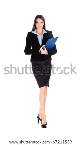 business woman walks on heels with documents on white background - stock photo