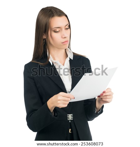 Business woman watching something on a piece of paper. Isolated on white background