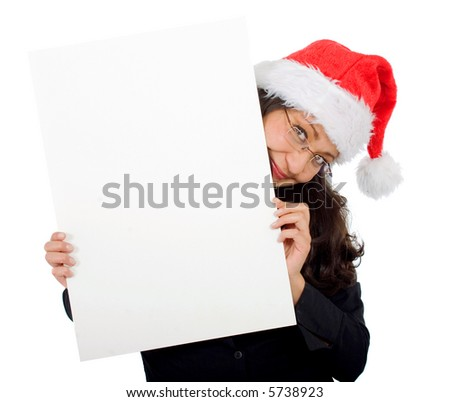 business woman wearing a santa hat isolated over a white background - stock photo