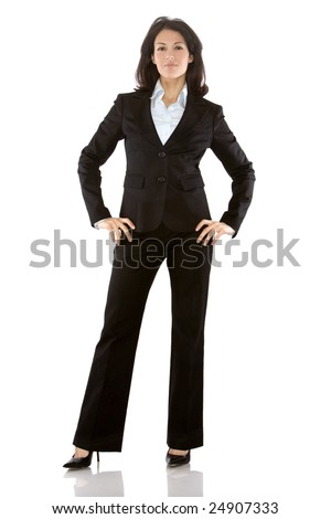 business woman wearing dark suit on white background