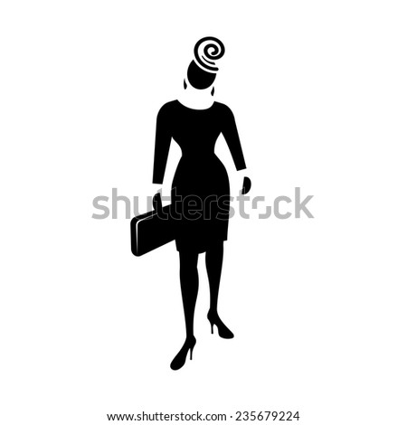 Business woman web icon. Lead symbol.  Black silhouette of fashion woman with bag and ear-ring on white background.  - stock photo