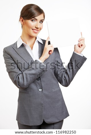Business woman white isolated portrait,  hold blank card. Young happy female smiling model. - stock photo