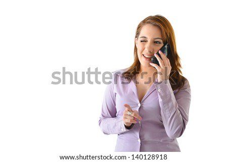 Business woman winking her eye and talking on phone - stock photo