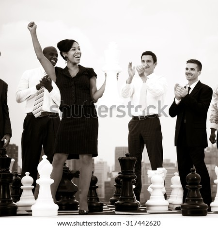 Business Woman Winning Chess Game City Concept - stock photo