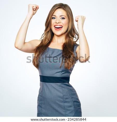 business woman winning emotion. white background isolated portrait. - stock photo