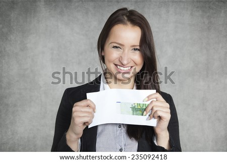 business woman with a bribe - stock photo