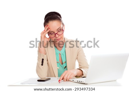 business woman with a laptop on an isolated background - stock photo