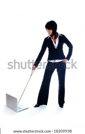 Business woman with a lead on her laptop computer