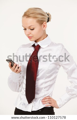 business woman with a phone in your hand