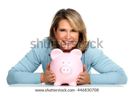 Business woman with a piggy bank. - stock photo
