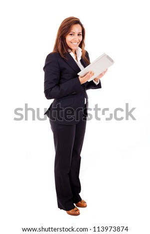 business woman with a tablet in his hands on a white background - stock photo