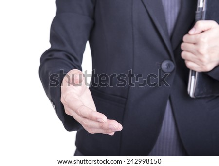 Business woman with an open hand ready to seal on a white background. - stock photo