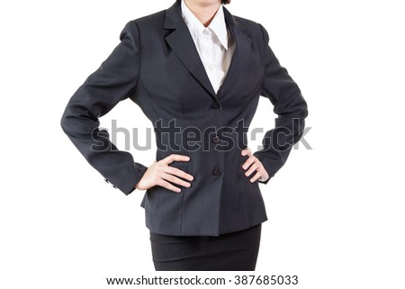 business woman with arms akimbo isolated on white background