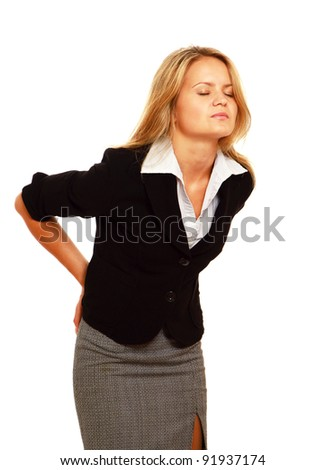 Business woman with back pain holding her aching hip, isolated on white background