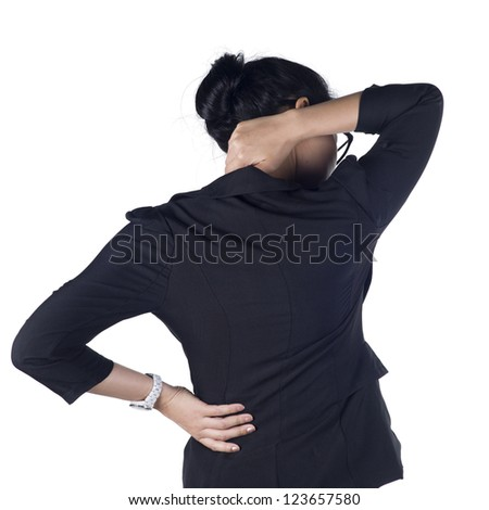 Business woman with back pain isolated white background, Model is Asian woman. - stock photo