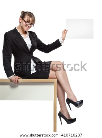 business woman with blank board. professionally retouched
