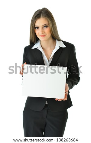 Business Woman with Blank Card with Copy Space (3/4 view) - stock photo