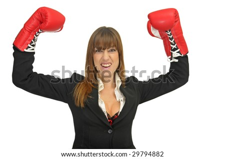 Business woman with boxing gloves isolated in white