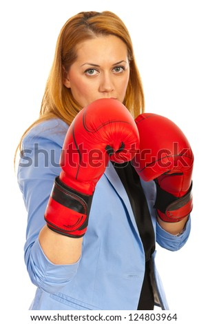 Business woman with boxing gloves isolated on white background - stock photo