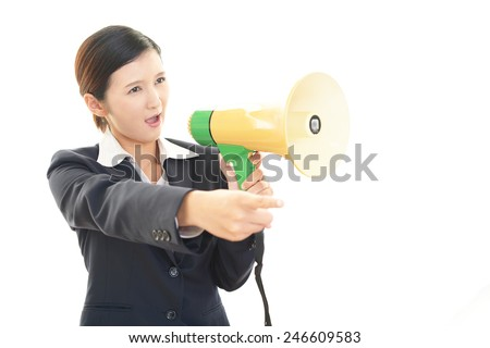 Business woman with bullhorn