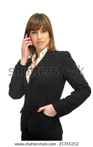 Business woman with cellphone isolated in white