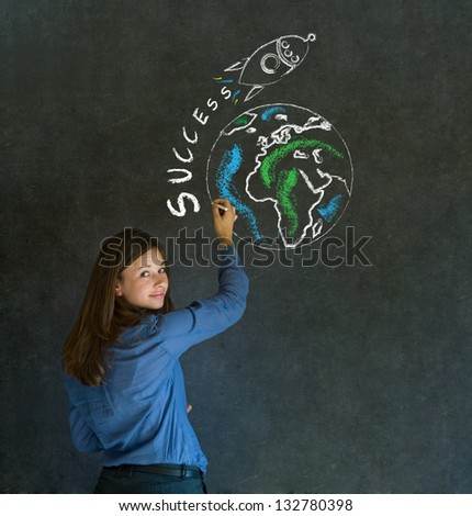 Business woman with chalk success rocket on blackboard background - stock photo