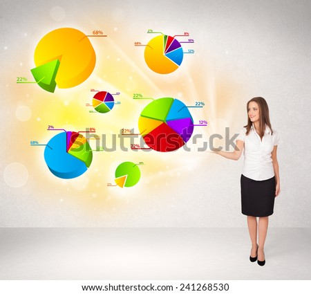 Business woman with colorful graphs and charts concept - stock photo