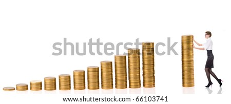 business woman with column coins over white background