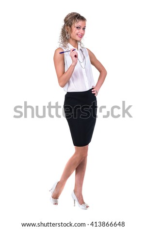 Business woman with copyspace isolated on white background - stock photo