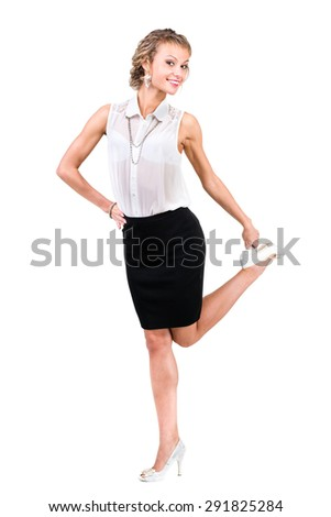 Business woman with copyspace. Isolated on white background in full length. - stock photo