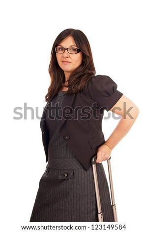 Business Woman with elegant business dress and suitcase / Business Woman - stock photo