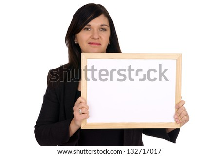 Business woman with empty sign / empty sign
