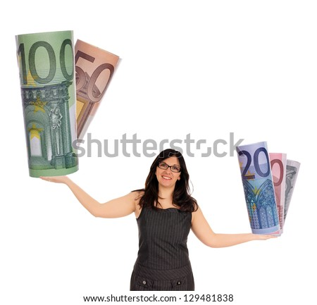 Business Woman with euro money / euro banknotes - stock photo