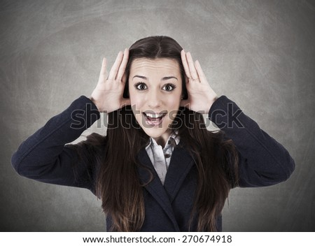 business woman with expression of surprise - stock photo