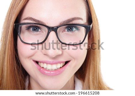 Business woman with eyeglasses isolated on white background, caucasian - stock photo