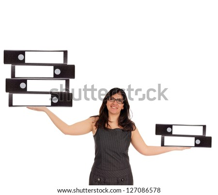 Business Woman with file folders / Business Woman - stock photo