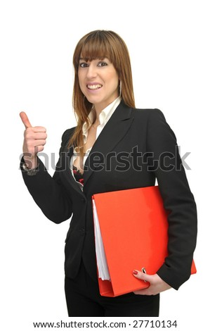 Business woman with file isolated in white