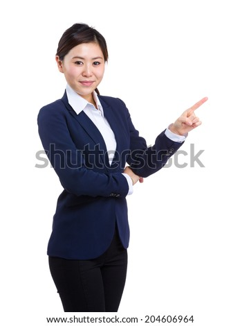 Business woman with finger up