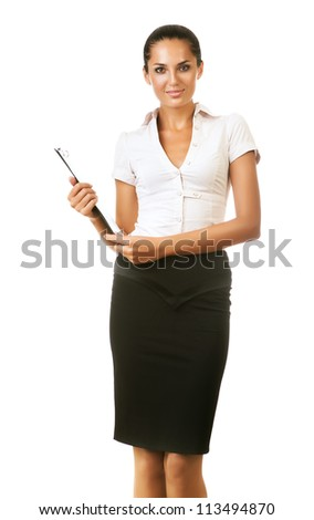 business woman with folder in hand on white background - stock photo