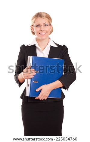 Business woman with folder on white background - stock photo