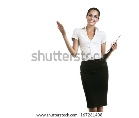 business woman with folder showing something on white background - stock photo