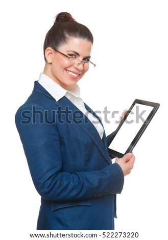 Business woman with glasses using tablet, white background.