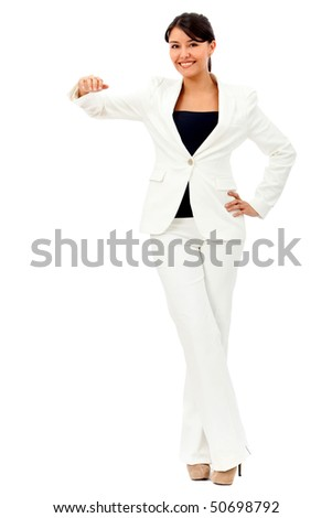 Business woman with hand on something imaginary - isolated over a white background - stock photo