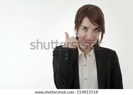 business woman with hands to face letting you know you should call her - stock photo