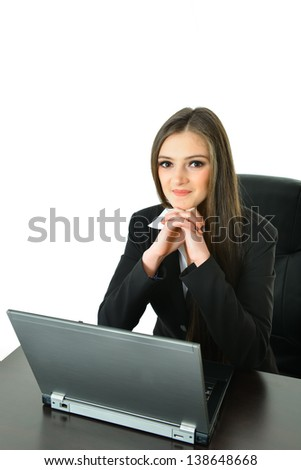 Business Woman with Hands Under Chin - stock photo