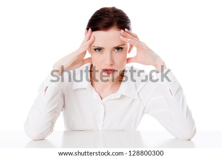 Business woman with headache, white background - stock photo