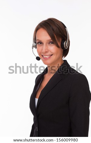 Business woman with headset isolated on white - stock photo